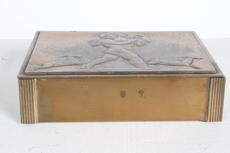 Mid-20th Century Rare Rockwell Kent for Chase Bacchus Art Deco Copper Cigarette Box For Sale