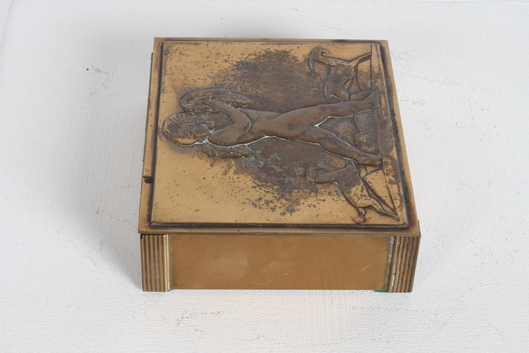 Rare Rockwell Kent for Chase Bacchus Art Deco Copper Cigarette Box For Sale 1