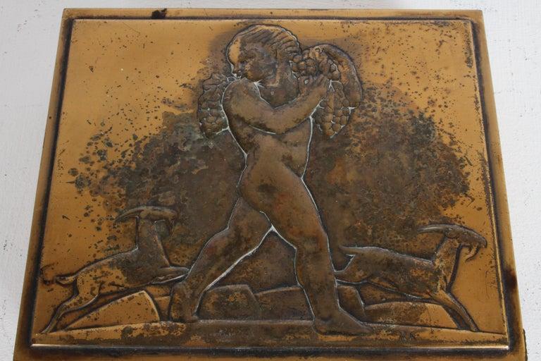 Rare Rockwell Kent for Chase Bacchus Art Deco Copper Cigarette Box For Sale 4