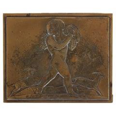 Rare Rockwell Kent for Chase Bacchus Art Deco Copper Cigarette Box