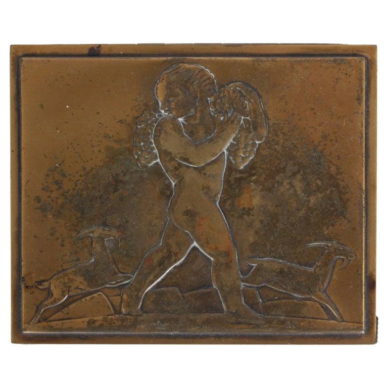 Rare Rockwell Kent for Chase Bacchus Art Deco Copper Cigarette Box For Sale