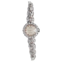 Rolex 18 Karat Brilliant Round and Baguette Diamond Set Bracelet Watch