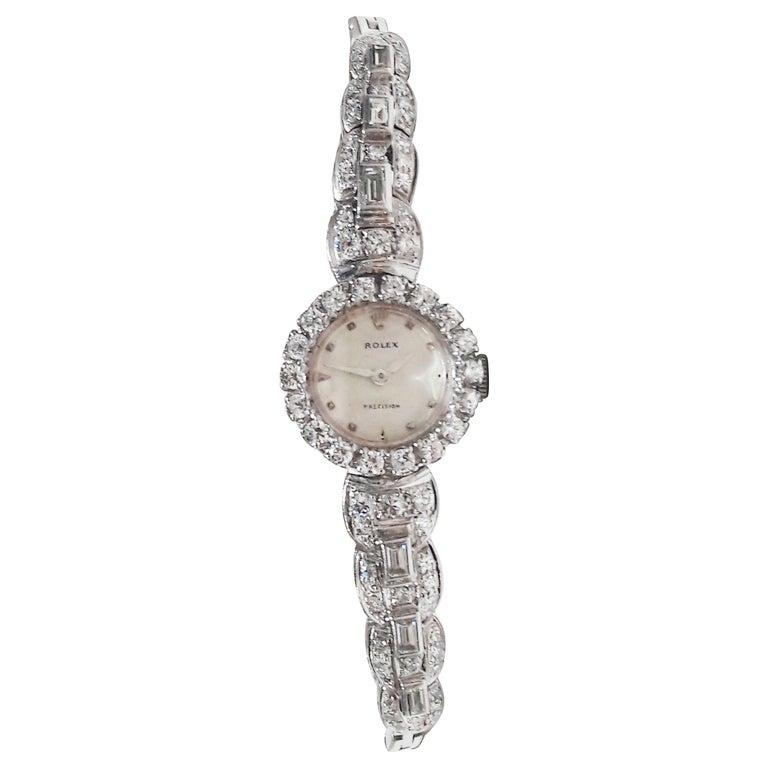 Rolex 18 Karat Brilliant Round and Baguette Diamond Set Bracelet Watch For Sale