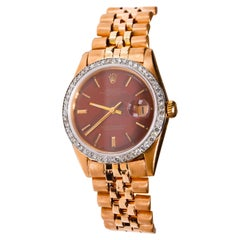 Rare Rolex Datejust 18K Rose Gold Jubilee Custom Diamond Burgundy Dial Watch