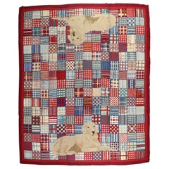 Rare Room Size Large Dog American Hooked Rug