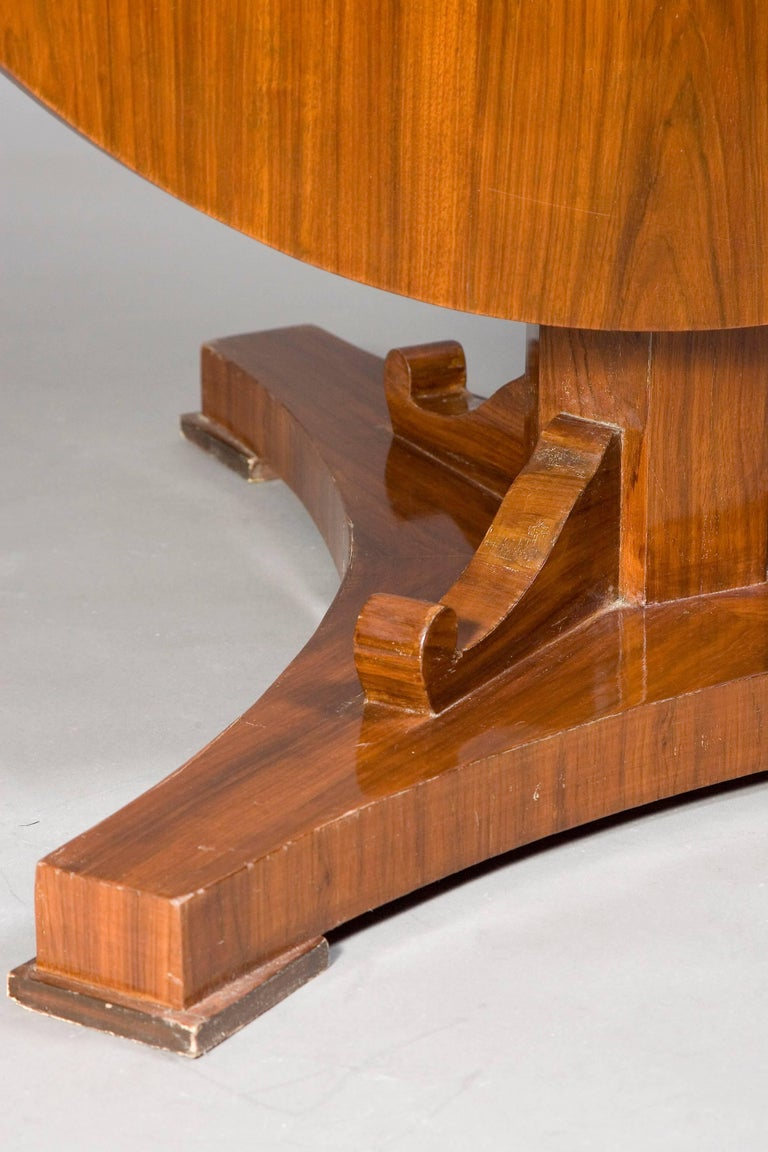Mahogany Rare Round Folding Table in Biedermeier Style For Sale