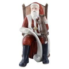 Rare Royal Copenhagen Porcelain Figurine, Santa Claus with a Cat