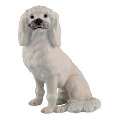 Rare Royal Copenhagen Porcelain Figurine, White Poodle, 1920s