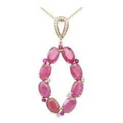 Rare Ruby and Diamond Designer Drop Investment Rose Gold Necklace