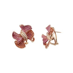 Rare Ruby Pink Sapphire White Diamond Flower Rose Gold Flower Earrings