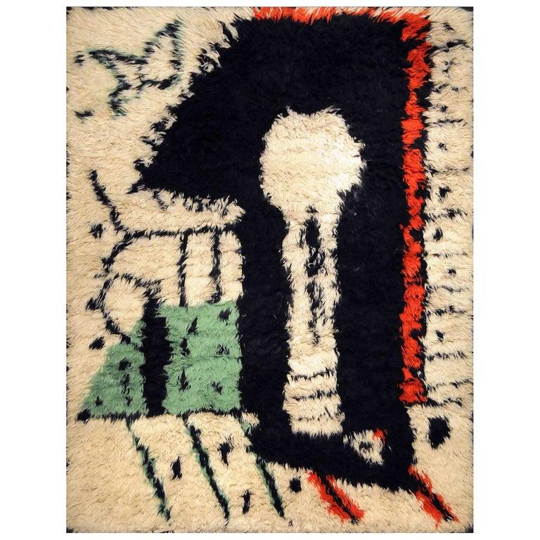 """Rare Rug Designed by Pablo Picasso, """"La Serrure,"""" circa 1955 For Sale"""