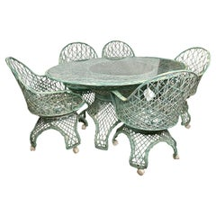 Rare Russell Woodard Green/Cream Spun Fiberglass Table and Chairs, 6 Pieces
