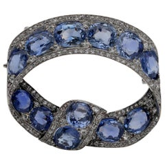 Rare Russian 22.0 Carat Cert Natural Sapphire 3.20 Ct Diamond Tsarist Bow Brooch