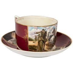 Rare Russian Civil War Commemorative Porcelain Cup and Saucer