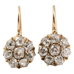 Rare Russian Diamond Cluster Gold Earrings, circa 1880