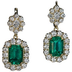 Rare Russian Emerald Diamond Gold Earrings