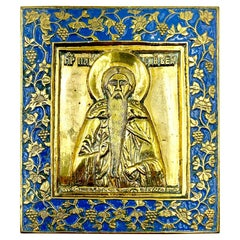 Rare Russian Enamel Bronze Travel Icon Saint Euphrosynus Wonderworker of Pskov