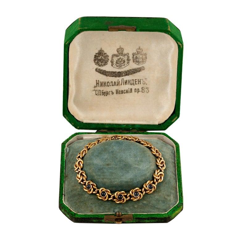 Russian Empire Rare Russian Gold and Sapphire Bracelet, circa 1900 For Sale