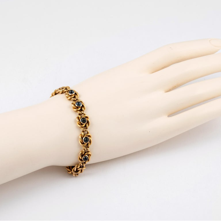Women's or Men's Rare Russian Gold and Sapphire Bracelet, circa 1900 For Sale