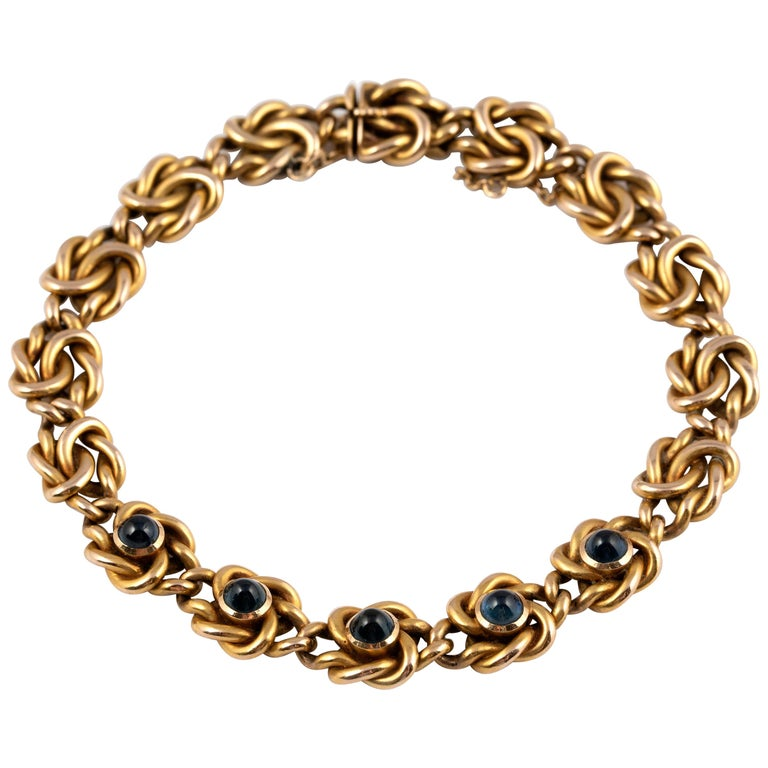Rare Russian Gold and Sapphire Bracelet, circa 1900 For Sale