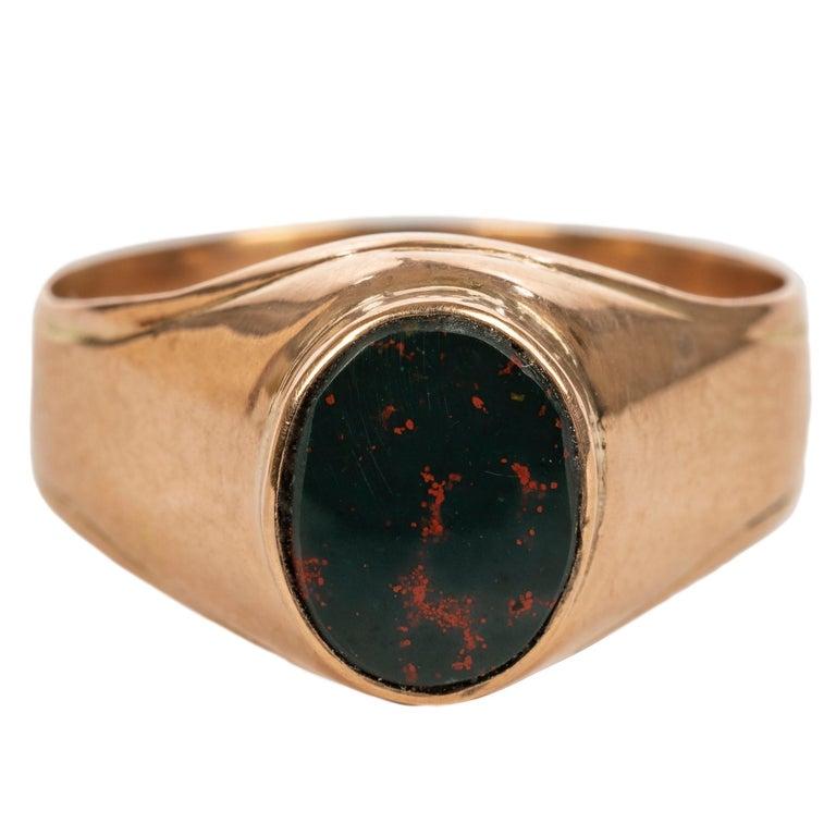 Rare Russian Gold Bloodstone Ring, circa 1900