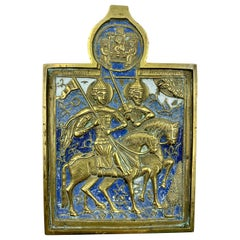 Rare Russian Polychrome Enamel Bronze Travel Icon of Princes Boris and Gleb
