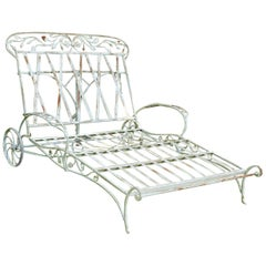 Rare Salterini Blooming Rose Pattern Wrought Iron Double Chaise Lounge