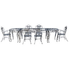Rare Salterini Della Robbia Collection Wrought Iron Dining Set w Consoles, 1940s