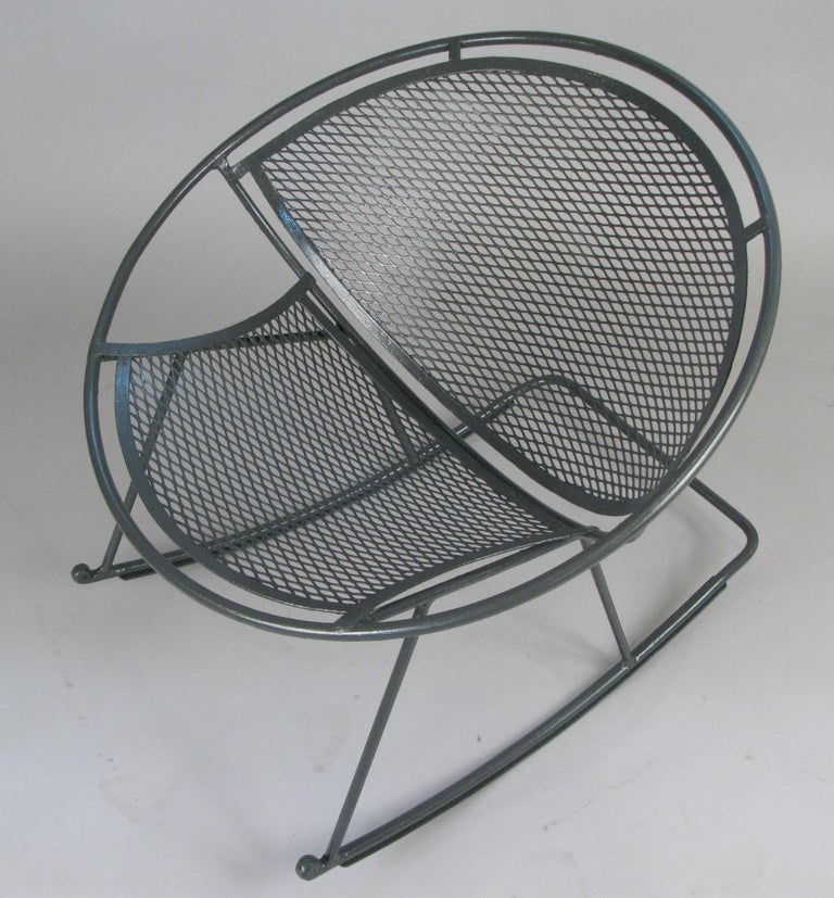 part of a complete set of vintage 1950's Salterini 'Radar', this rocking chair is one of the hardest pieces to find. very well made and in excellent condition, it is freshly refinished in dark grey, but can be finished in a color of your choice.