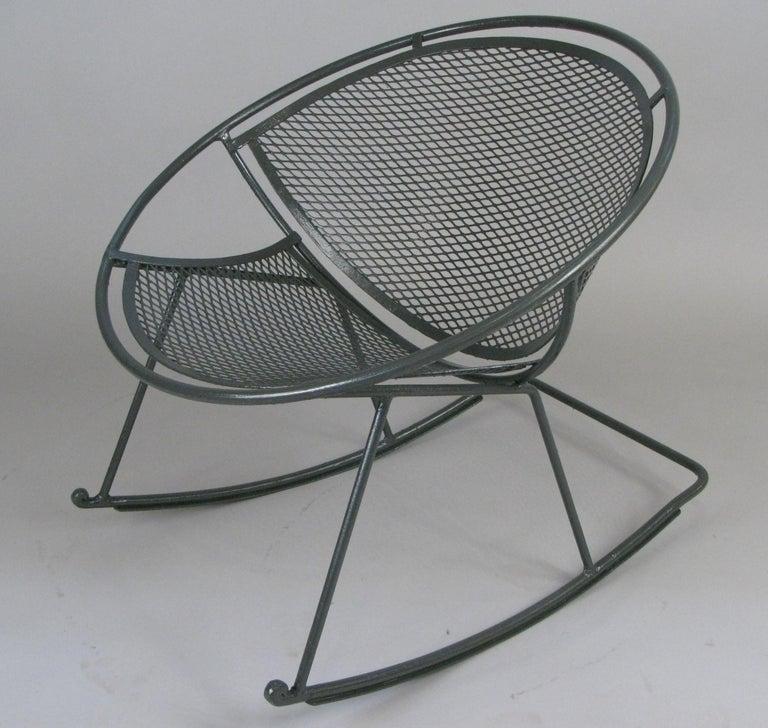 Mid-Century Modern Rare Salterini 'Radar' Wrought Iron Rocking Chair For Sale