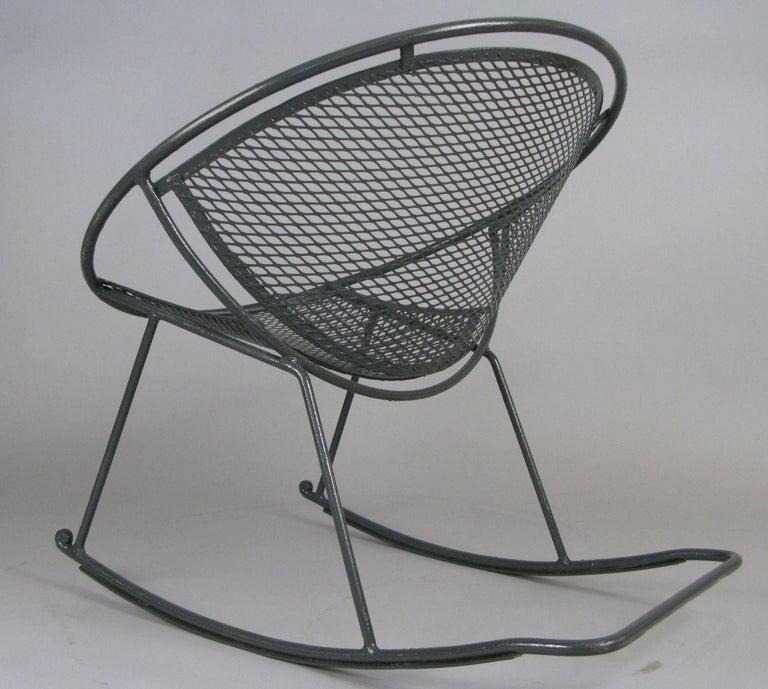 American Rare Salterini 'Radar' Wrought Iron Rocking Chair For Sale