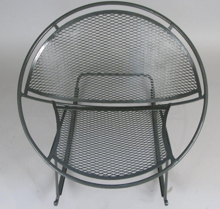 Rare Salterini 'Radar' Wrought Iron Rocking Chair In Good Condition For Sale In Hudson, NY