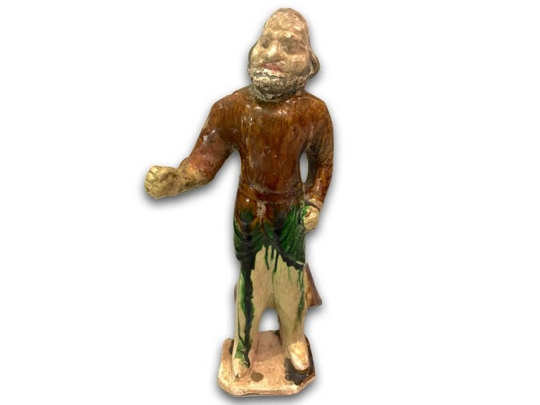 Very interesting horse trainer in sancai glazed technique with beard and Semitic traces alien from the typical Chinese face and attire, most probably belonging to the Trans-Caucasian Horse and Camel Caravans that cross the Gobi Dessert across the