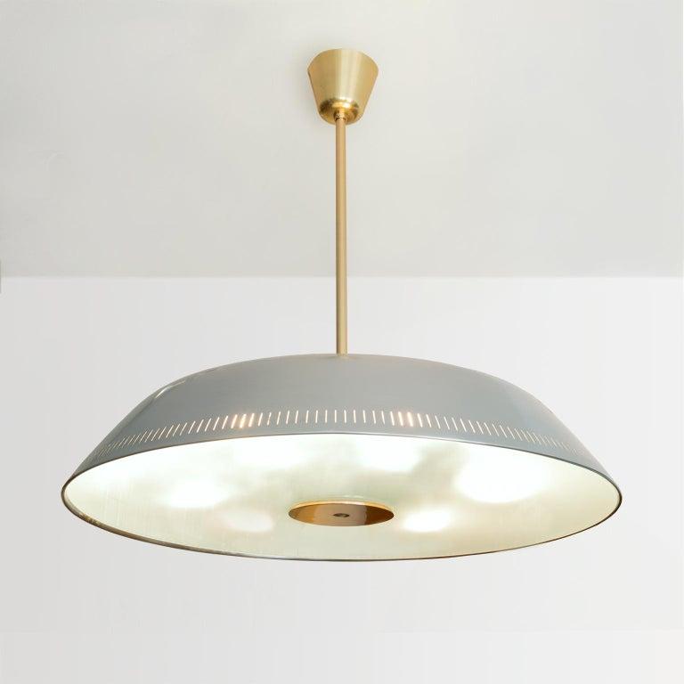 Scandinavian Modern Steel Glass Pendant by Harald Notini for Böhlmarks Sweden For Sale 5
