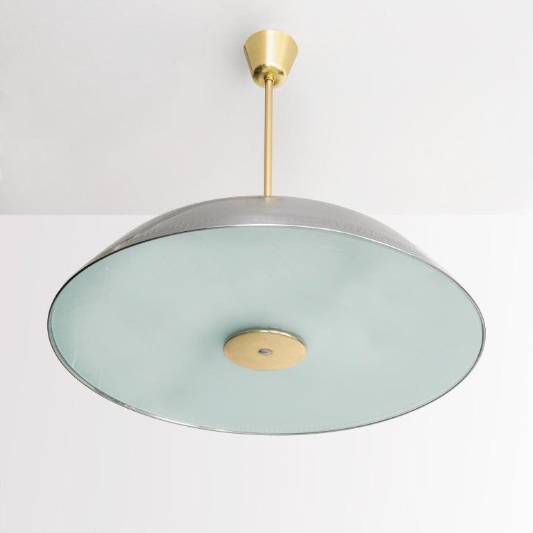 20th Century Scandinavian Modern Steel Glass Pendant by Harald Notini for Böhlmarks Sweden For Sale
