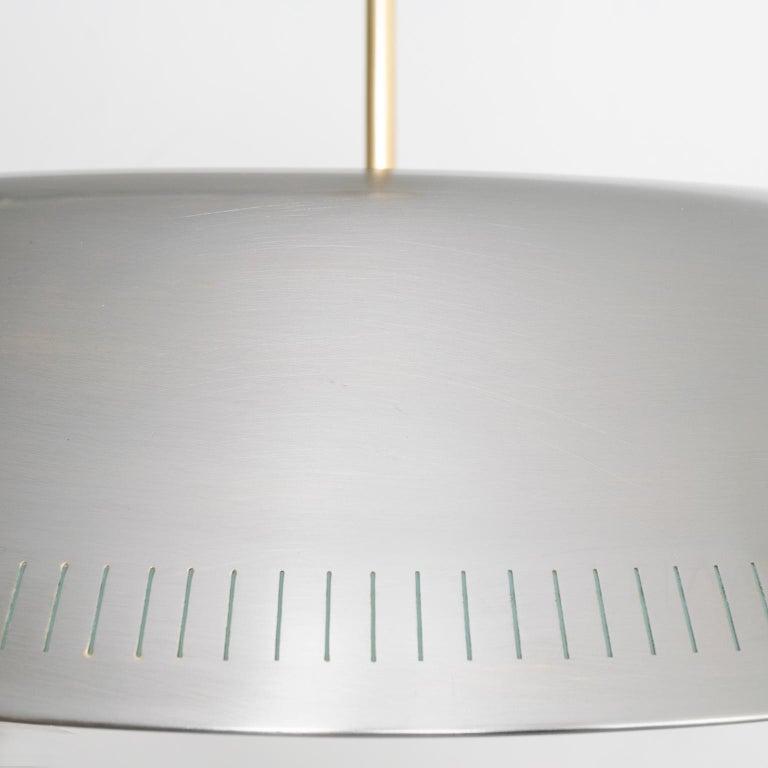 Scandinavian Modern Steel Glass Pendant by Harald Notini for Böhlmarks Sweden For Sale 2