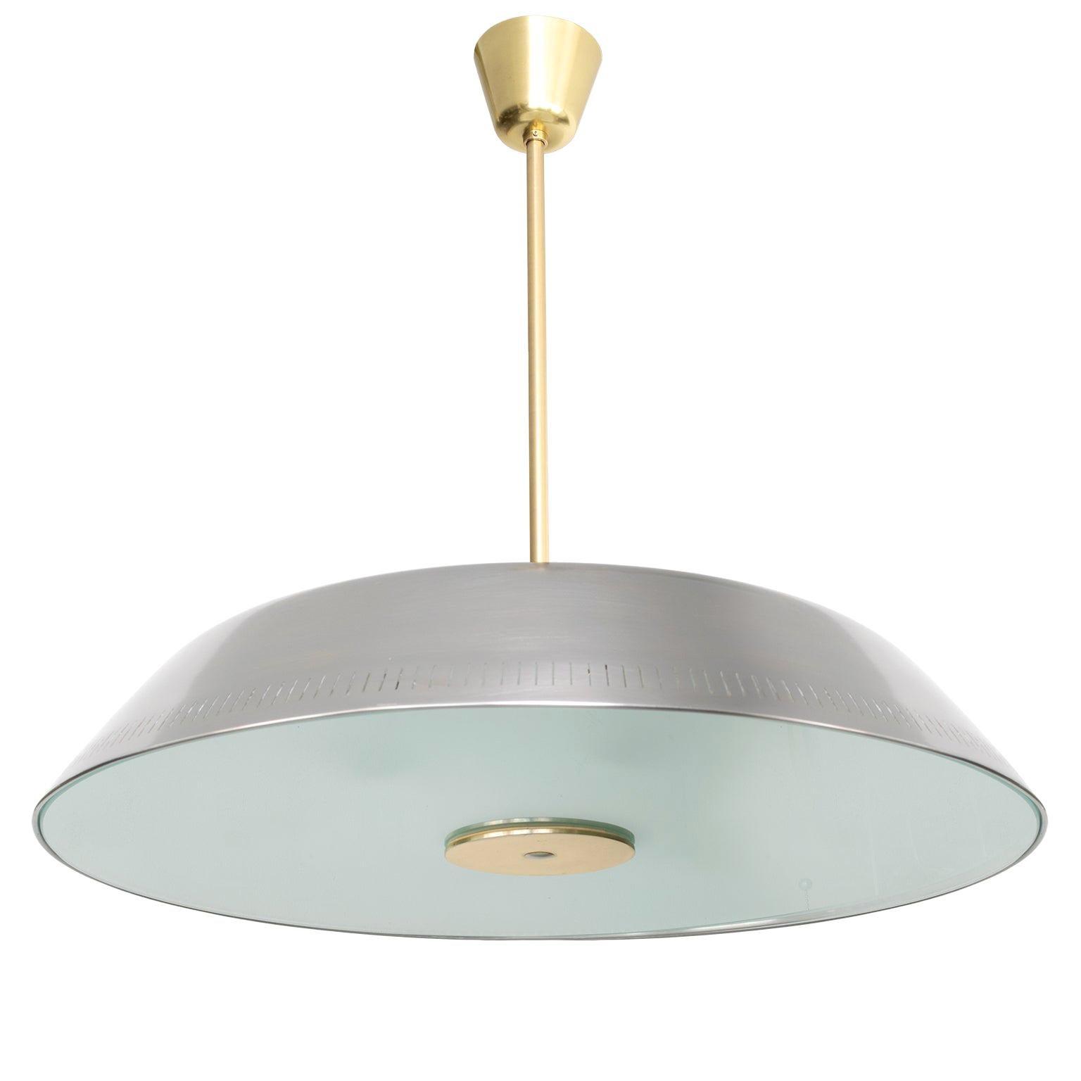 Scandinavian Modern Steel Glass Pendant by Harald Notini for Böhlmarks Sweden