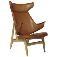 Rare Scandinavian Ox Lounge Chair in Saddle Leather