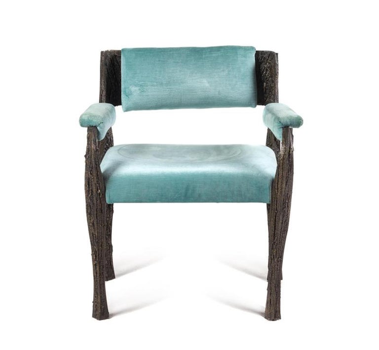 Rare sculpted bronze armchair, by Paul Evans upholstered with pale blue velvet fabric, USA.