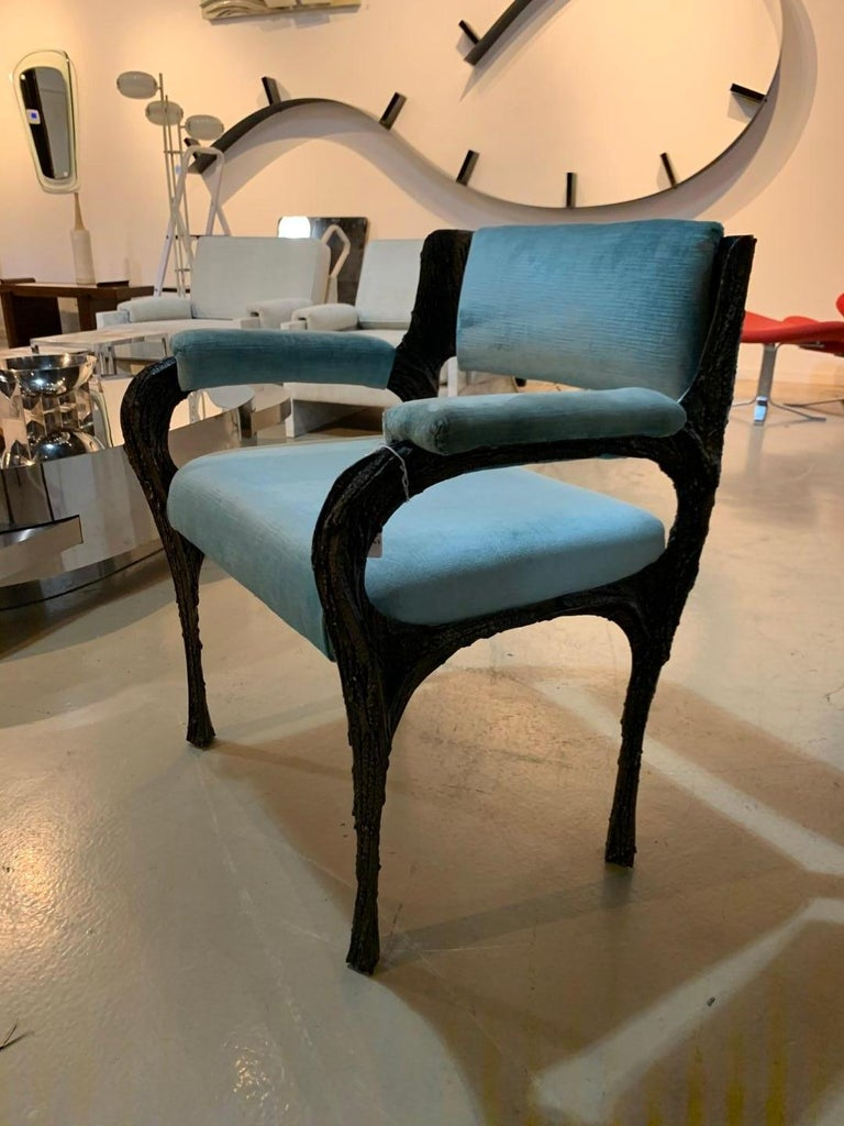 Rare Sculpted Bronze Armchair by Paul Evans for Directional In Good Condition For Sale In Montreal, QC