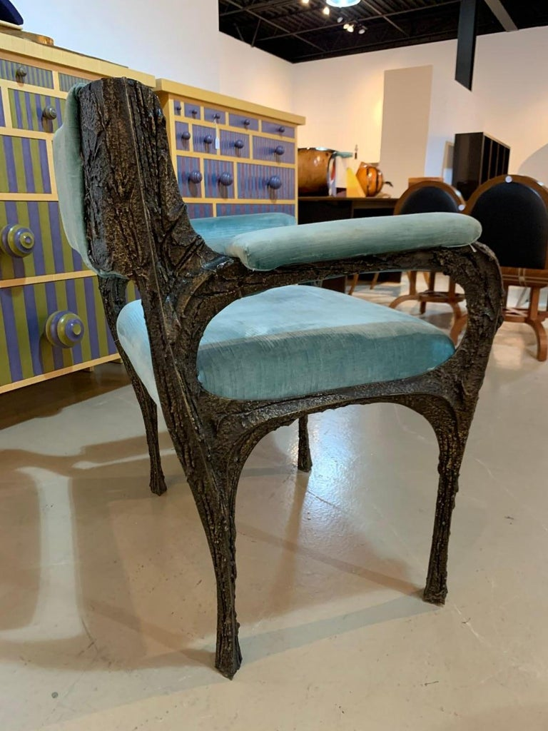 Late 20th Century Rare Sculpted Bronze Armchair by Paul Evans for Directional For Sale