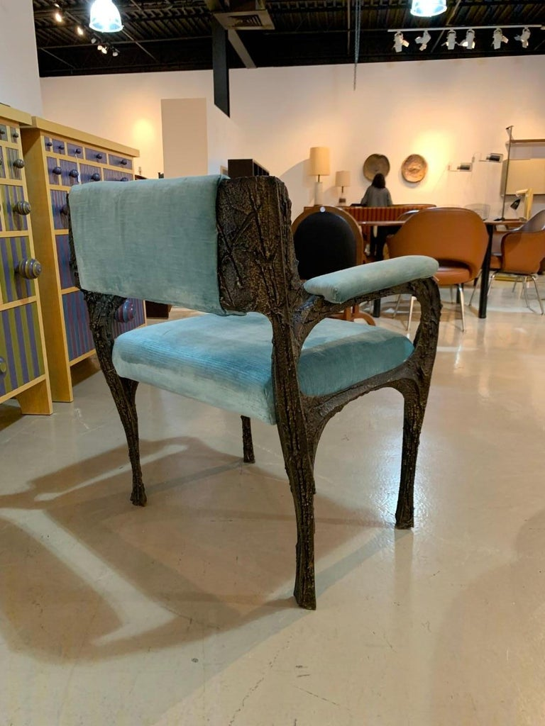 Rare Sculpted Bronze Armchair by Paul Evans for Directional For Sale 1