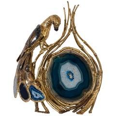 Rare Sculptural Bird Lamp Signed by Henri Fernandez