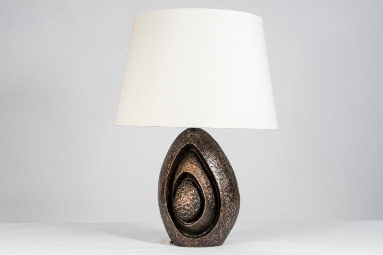 Very nice abstract bronze lamp No shade provided.