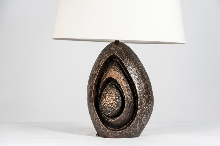 Belgian Rare Sculptural Bronze Lamp by Fernand Dresse For Sale