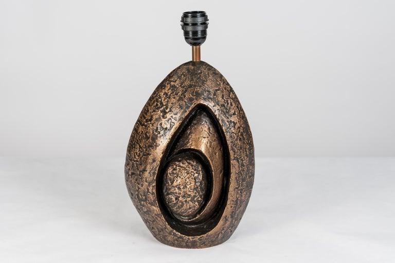 Rare Sculptural Bronze Lamp by Fernand Dresse For Sale 1