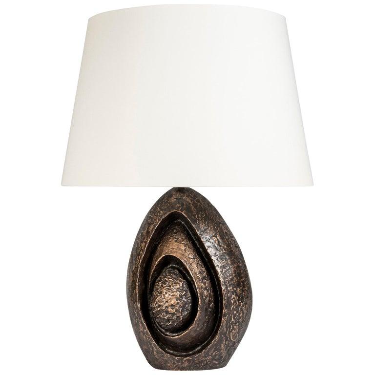 Rare Sculptural Bronze Lamp by Fernand Dresse For Sale