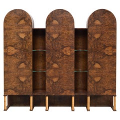 Rare Sculptural Cabinet with Arched Doors in Walnut Burl