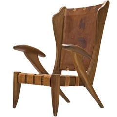 Rare Sculptural Guglielmo Pecorini Lounge Chair in Ash and Cognac Leather