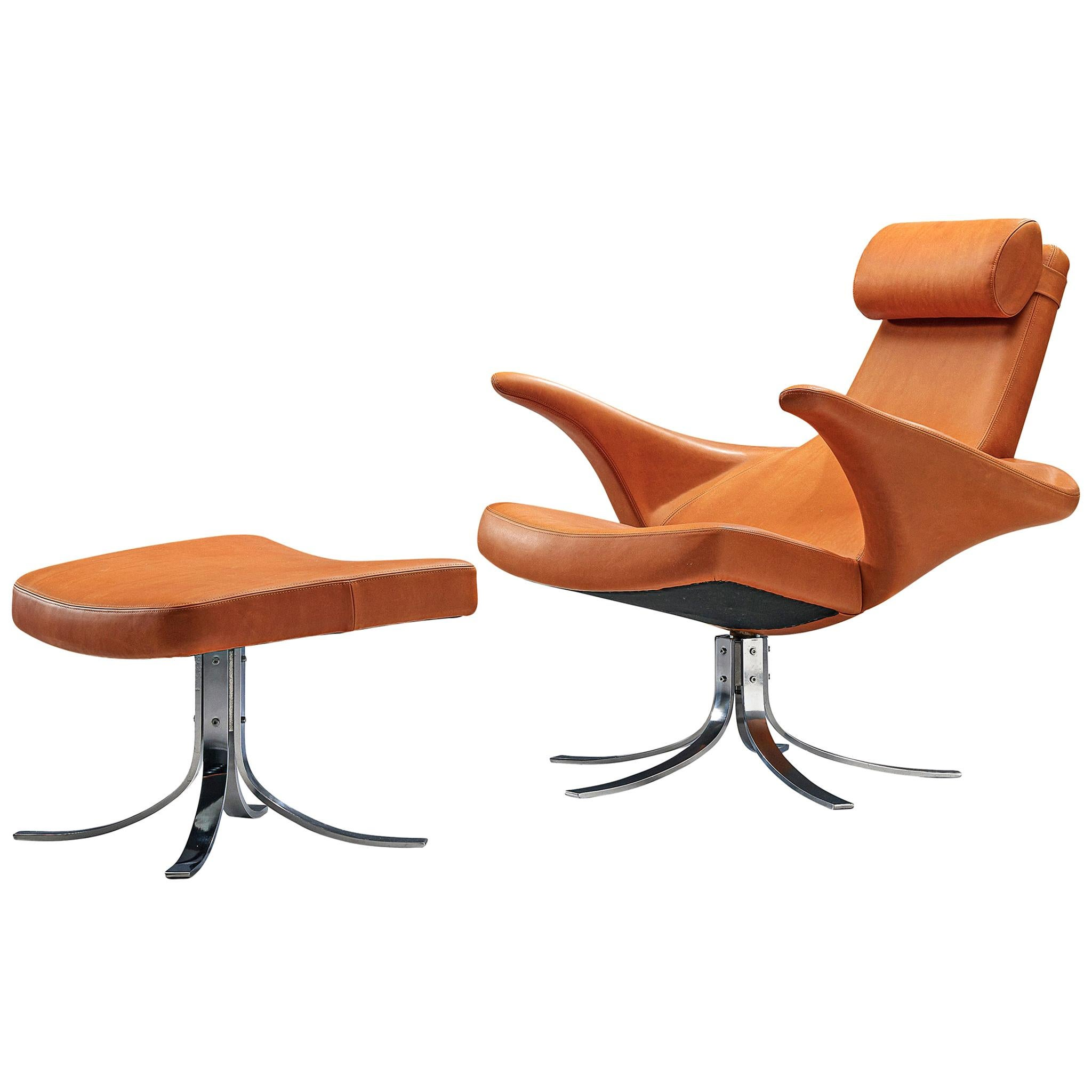 Rare 'Seagull' 9601 Chair with Ottoman by Gösta Berg & Stenerik Eriksson